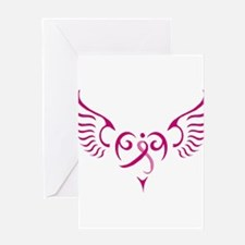 Breast Cancer Awareness Angel Heart Greeting Card
