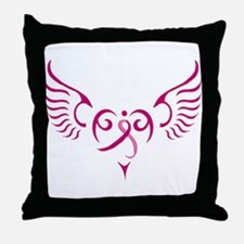 Breast Cancer Awareness Angel Heart Throw Pillow