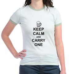 Keep Calm and Carry One (Beer) Jr. Ringer T-Shirt
