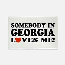 Somebody In Georgia Loves Me Rectangle Magnet