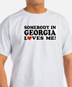 Somebody In Georgia Loves Me Ash Grey T-Shirt