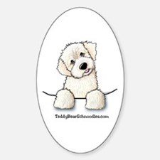 White Schnoodle Pocket Oval Decal