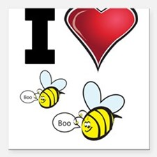 """I Love Boo Bees Square Car Magnet 3"""" x 3"""""""