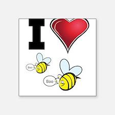 """I Love Boo Bees Square Sticker 3"""" x 3"""""""