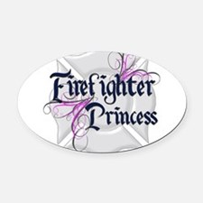 tribal princess firefighter.png Oval Car Magnet