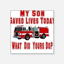 "3-savedlivesfireson.png Square Sticker 3"" x 3"""