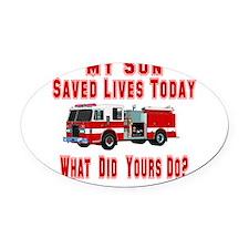 3-savedlivesfireson.png Oval Car Magnet