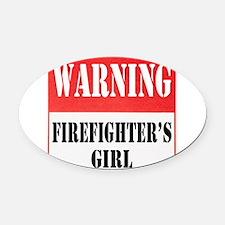 dangersignFFgirl.png Oval Car Magnet