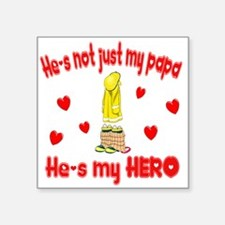 """not just my papa hearts.png Square Sticker 3"""" x 3"""""""