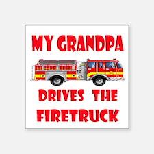 """drivesfiretruckgrandpa.png Square Sticker 3"""" x 3"""""""