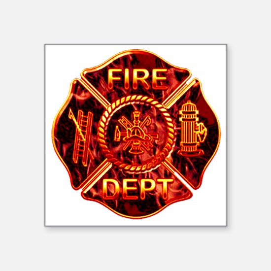 """red flame maltese copy.png Square Sticker 3"""" x 3"""""""