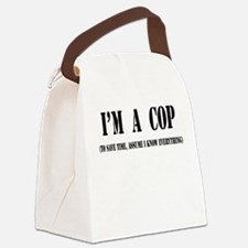 Im a cop black.png Canvas Lunch Bag