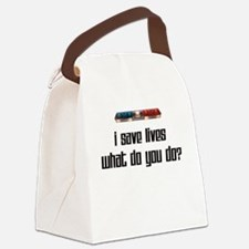lightbarsavelivesblack.png Canvas Lunch Bag