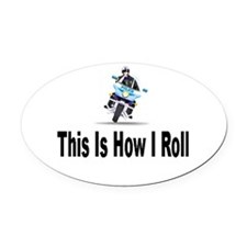 bike_tiltTP.png Oval Car Magnet
