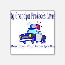 "policegrandpaprotect.JPG Square Sticker 3"" x 3"""
