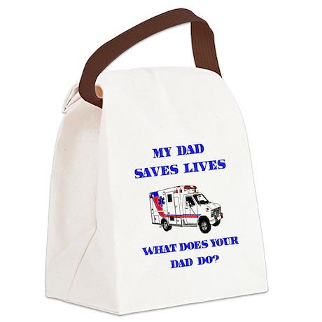 saveslivesambulanceDad.png Canvas Lunch Bag