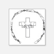 """3-fishers of men silver.png Square Sticker 3"""" x 3"""""""
