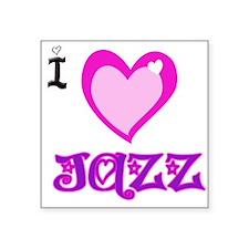 "I Love JAZZ.png Square Sticker 3"" x 3"""