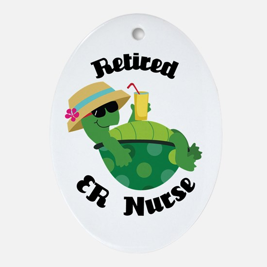 Retired ER Nurse Gift Ornament (Oval)