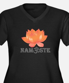 Namaste lotus Women's Plus Size V-Neck Dark T-Shir