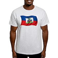 Wavy Haiti Flag Ash Grey T-Shirt