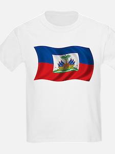 Wavy Haiti Flag Kids T-Shirt