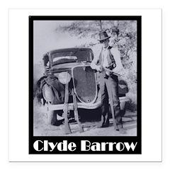 "Clyde Barrow Square Car Magnet 3"" x 3"""