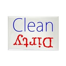 Clean Dirty Dishwasher Red Blue Rectangle Magnet