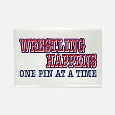 Wrestling Happens Rectangle Magnet