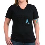 Prostate Cancer Words Women's V-Neck Dark T-Shirt
