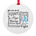 Prostate Cancer Words Round Ornament