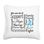 Prostate Cancer Words Square Canvas Pillow