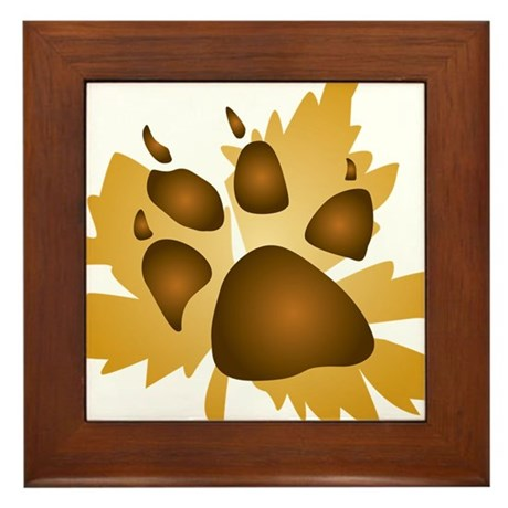Pawprint On Leaf Framed Tile