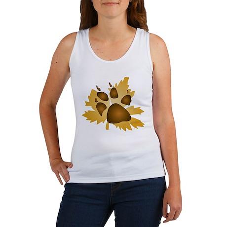 Pawprint On Leaf Women's Tank Top