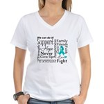 Ovarian Cancer Words Women's V-Neck T-Shirt