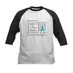 Ovarian Cancer Words Kids Baseball Jersey