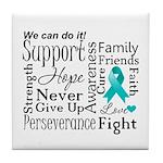 Ovarian Cancer Words Tile Coaster