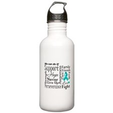 Ovarian Cancer Words Water Bottle