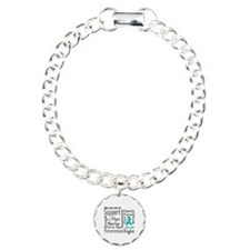 Ovarian Cancer Words Charm Bracelet, One Charm