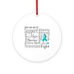 Ovarian Cancer Words Ornament (Round)