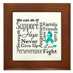 Ovarian Cancer Words Framed Tile