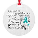 Ovarian Cancer Words Round Ornament