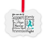 Ovarian Cancer Words Picture Ornament
