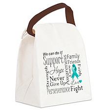 Ovarian Cancer Words Canvas Lunch Bag