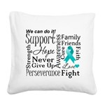 Ovarian Cancer Words Square Canvas Pillow