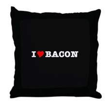 Bacon I Love Heart Throw Pillow
