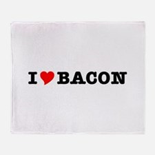 Bacon I Love Heart Throw Blanket
