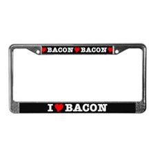 Bacon I Love Heart License Plate Frame