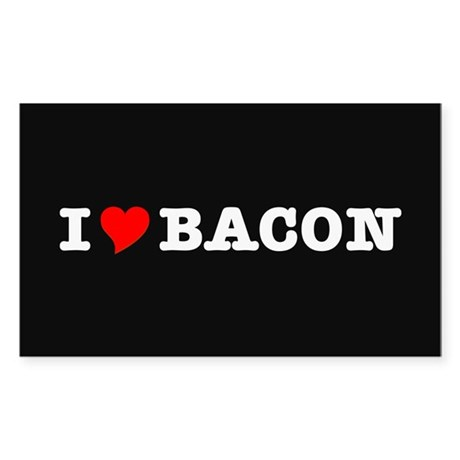 Bacon I Love Heart Sticker (Rectangle)