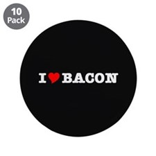 "Bacon I Love Heart 3.5"" Button (10 pack)"